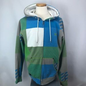 DG blue green fleece zip up hoodie sweater Sz L